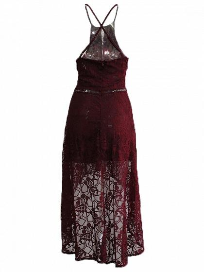 Burgundy Cut Out Detail Lace Hi-Lo Dress