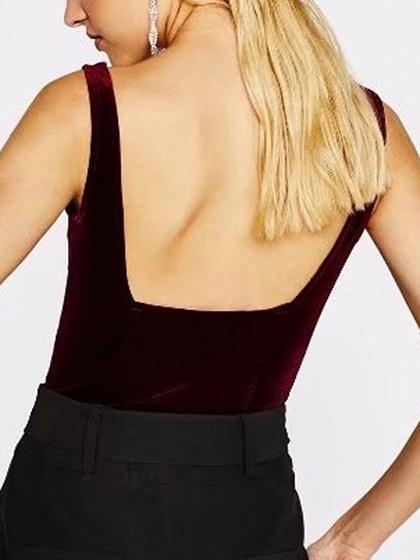 Burgundy Velvet V-neck Open Back Bodysuit