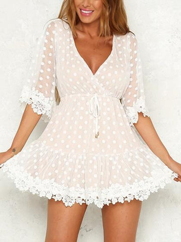 Light Pink V-neck Lace Panel Drawstring Waist Polka Dot Dress