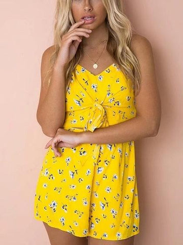 Yellow Spaghetti Strap Cut Out Detail Bow Front Romper Playsuit