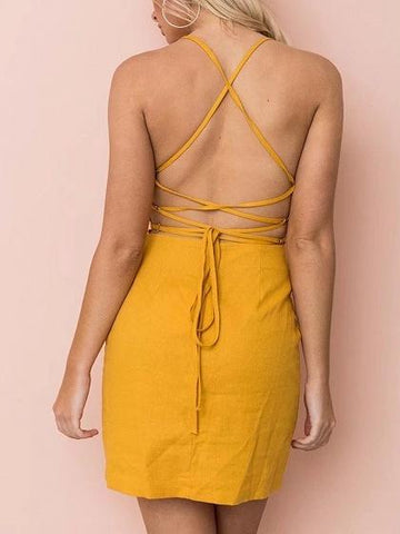 Yellow Spaghetti Strap Back Cross Mini Dress
