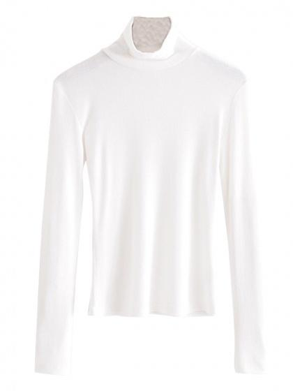 High Neck Long Sleeve Ribbed T-shirt