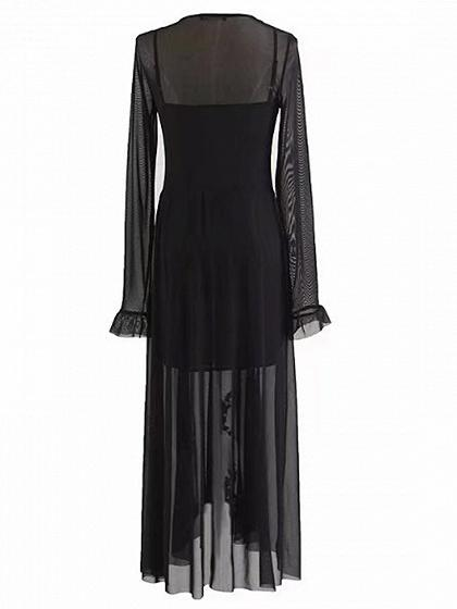 Black Floral Embroidery Sheer Mesh Dress And Cami Lining