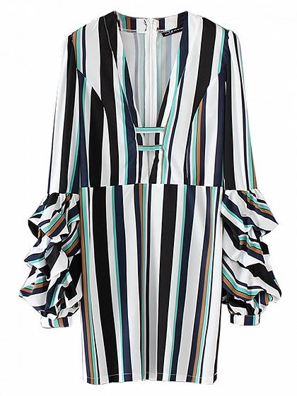 Polychrome Stripe V-neck Ruched Sleeve Mini Dress