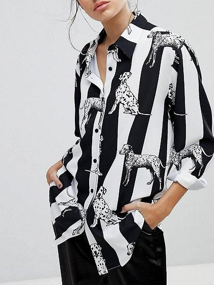 Monochrome Stripe Dog Print Long Sleeve Shirt