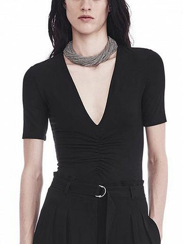 Black V-neck Ruched Detail Bodysuit