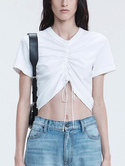 White Drawstring Ruched Detail T-shirt