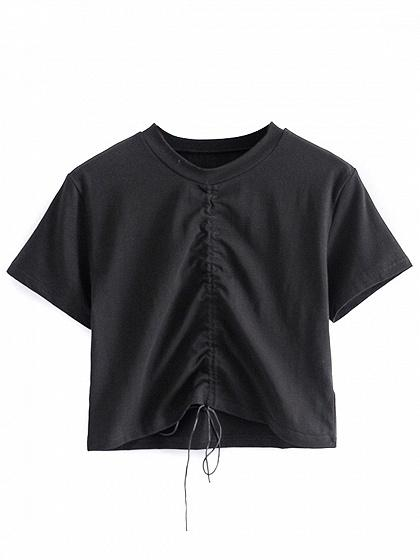 Black Drawstring Ruched Detail T-shirt