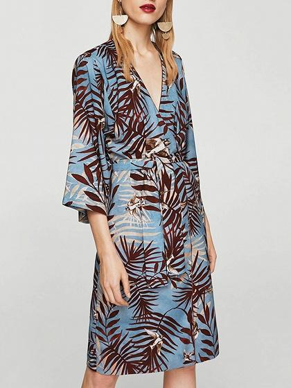 Blue Tie Waist Palm Print Dress