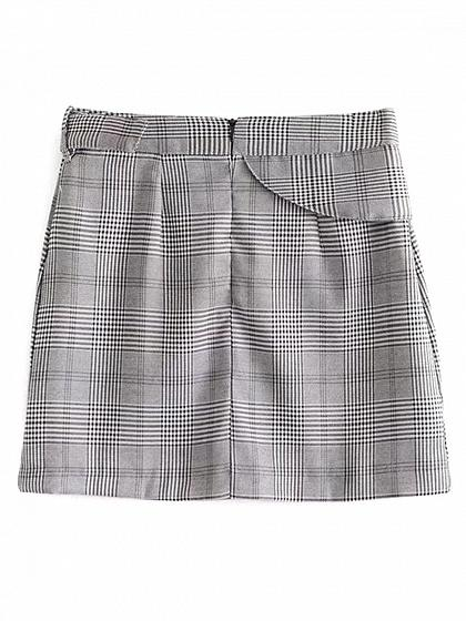 Gray Plaid Buckle Strap Mini Skirt