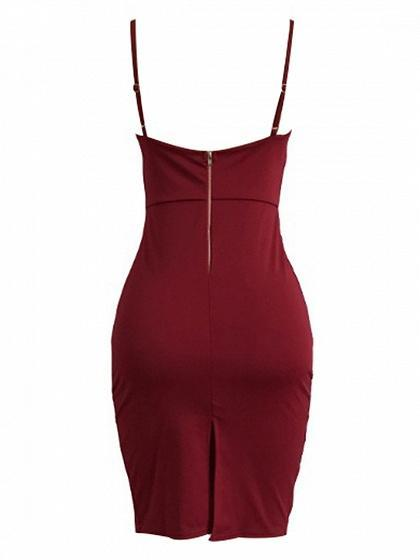 Spaghetti Strap Plunge Lace Up Front Bodycon Dress