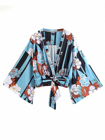 Blue V-neck Tie Waist Print Detail Long Sleeve Blouse