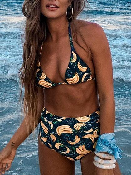 Polychrome Halter Banana Print Bikini Top And High Waist Bottom