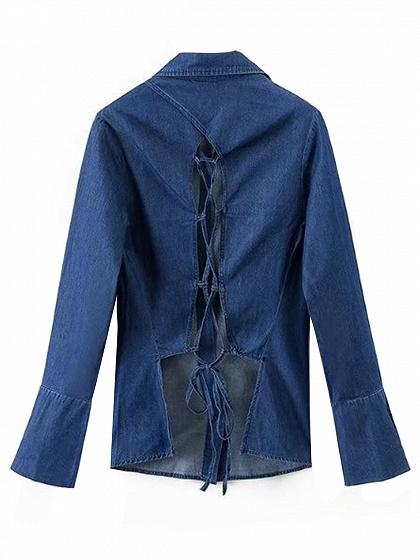 Dark Blue Lace Up Back Denim Shirt
