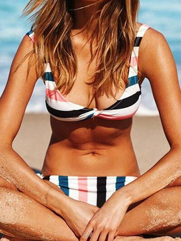Polychrome Stripe Bikini Top And Bottom