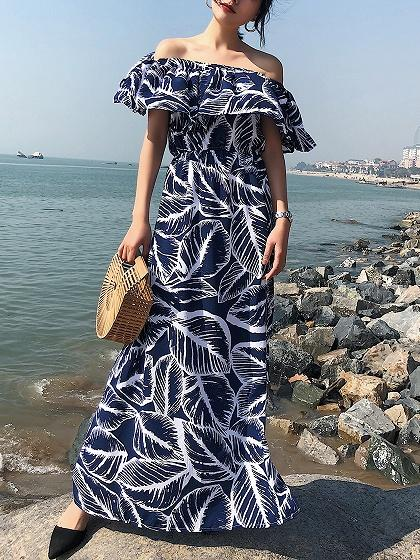 Blue Off Shoulder Thigh Split Side Leaves Print Dress