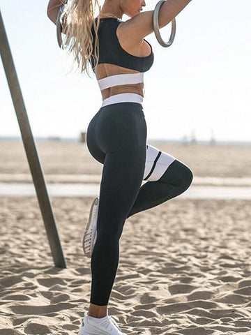 Black Stripe Contrast Crop Top And High Waist Pants