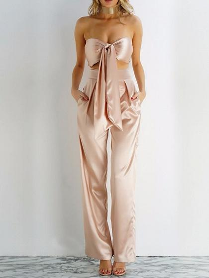 Bandeau Bow Tie Front Bralet And High Waist Pants