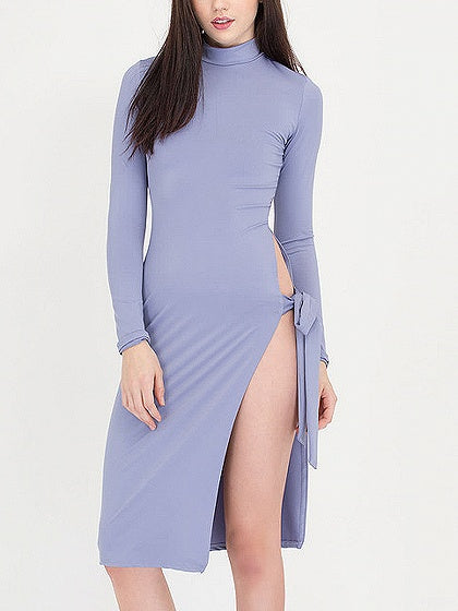Tie Side Thigh Split Detail Long Sleeve Dress