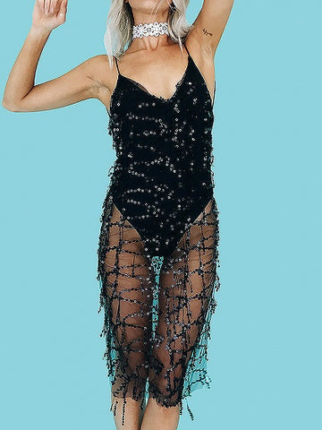 Black Spaghetti Strap Plunge Sequin Detail Open Back Dress