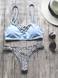 Light Blue Strappy Bikini Set