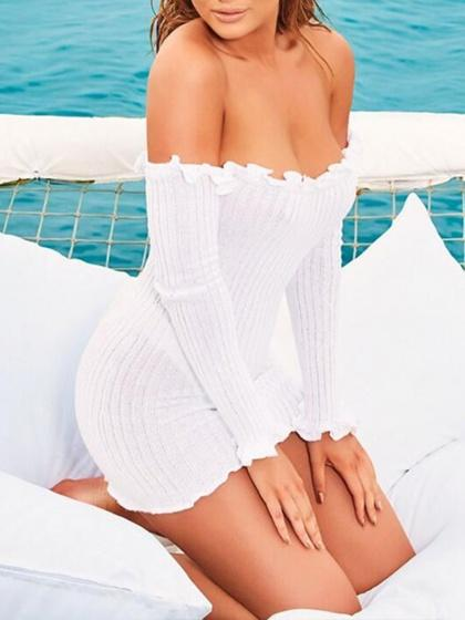 White Off Shoulder Frill Trim Rib Knit Bodycon Dress