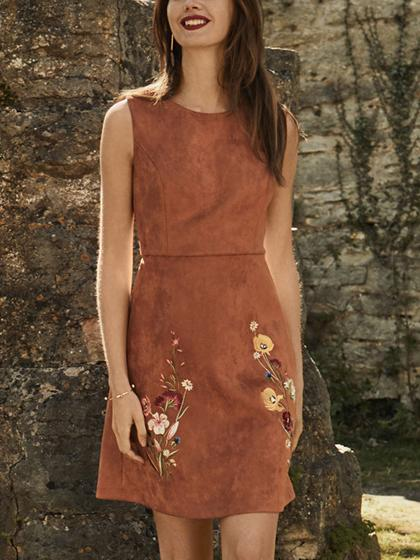 Brown Faux Suede Embroidery Floral Sleeveless A-line Dress