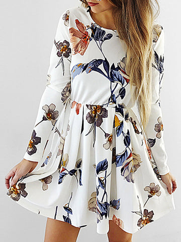 Beige Floral Print Long Sleeve Mini Dress
