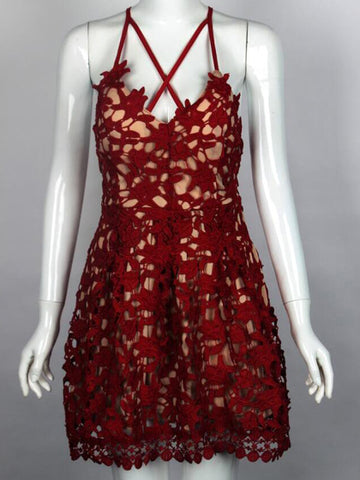Burgundy Cross Strap Open Back Lace Mini Dress