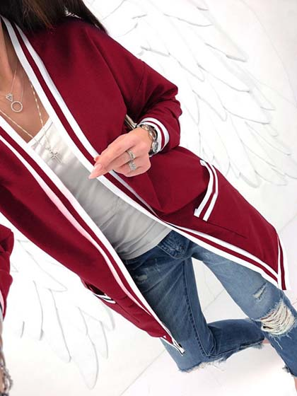 Burgundy Stripe Open Front Long Sleeve Cardigan
