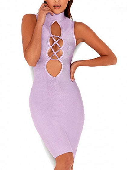 Purple High Neck Lace Up Front Bodycon Dress