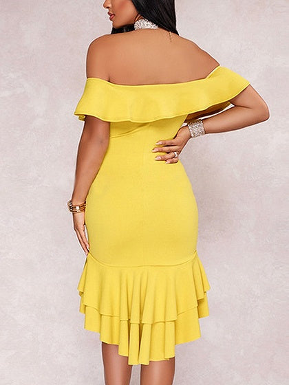 Off Shoulder Ruffle Trim Bodycon Hi-Lo Dress