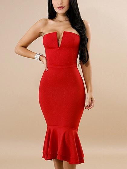 Bandeau Ruffle Hem Bodycon Midi Dress
