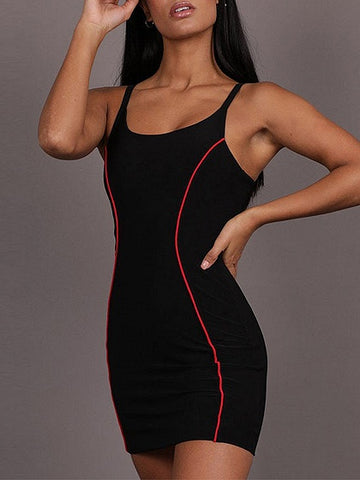 Black Spaghetti Strap Bodycon Mini Dress