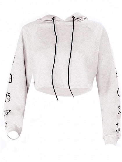 72f164a3e5d31 Gray Drawstring Print Detail Long Sleeve Cropped Hoodie – chiclookcloset