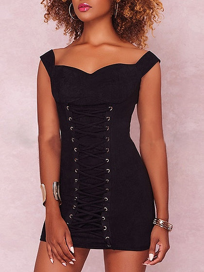 Velvet Eyelet Lace Up Front Bodycon Mini Dress