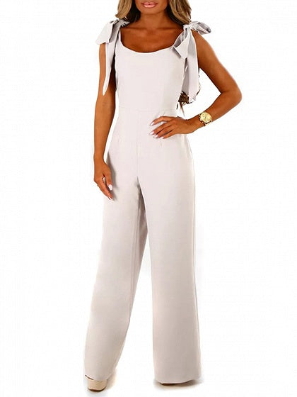 White Bow Tie Shoulder Zip Back Jumpsuit