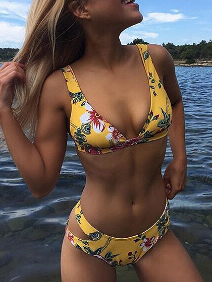 Yellow Floral Print Bikini Top And Bottom