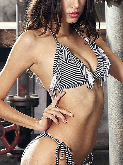 Black Stripe Halter Tassel Trim Bikini Top And Bottom