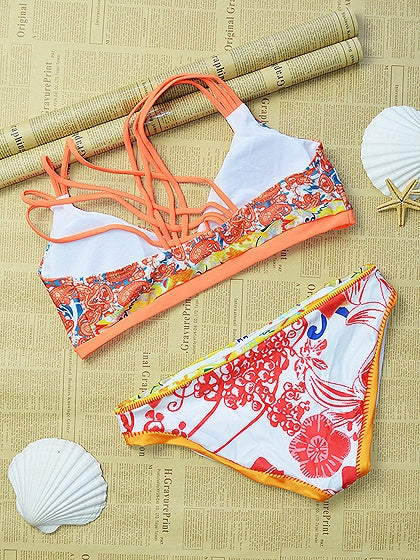 Orange Print Detail Lace Up Back Bikini Top And Bottom