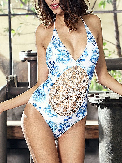 White Halter Floral Print Open Back Swimsuit
