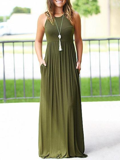 Pocket Detail Sleeveless Maxi Dress