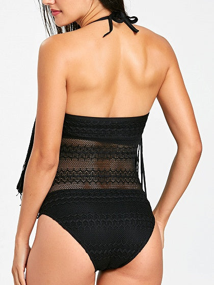 Black Halter Tassel Trim Open Back Swimsuit