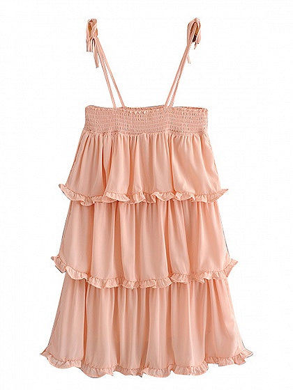 Pink Spaghetti Strap Tie Detail Layered Mini Dress