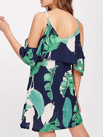 Green Spaghetti Strap V-neck Leaf Print Mini Dress