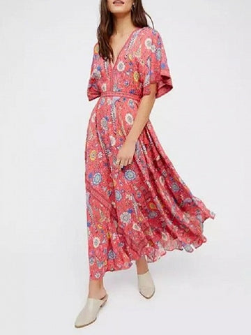 Red Plunge Floral Print Open Back Maxi Dress