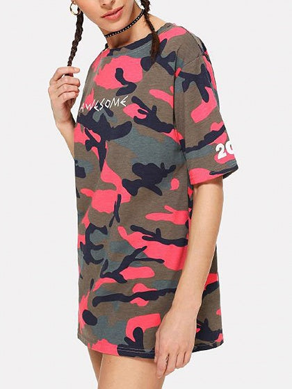 Red Camouflage Letter Print Mini Dress
