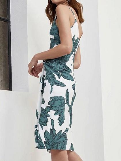 Spaghetti Strap Plunge Leaf Print Knot Front Dress