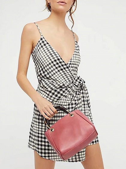 Black Plaid Spaghetti Strap Plunge Tie Waist Mini Dress