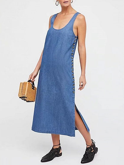 Blue Scoop Neck Button Placket Side Split Side Denim Midi Dress